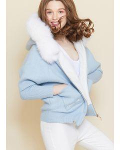 172..Limited Sweater extra warm fur fox & hood
