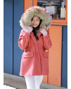 434 Coat With Fur Fox Hood : Special Color