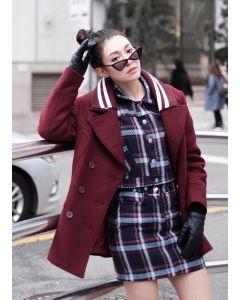 437 Collar Stripes Coat